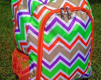 SALE Multi Orange Chevron Backpack Monogrammed Name or Initials of Your Choice