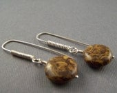 Sterling Silver and Elephant Jasper  Dangle Earrings