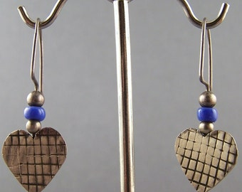 Sterling Silver Hearts with Blue Glass Earrings
