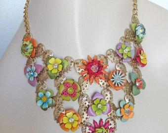 Vintage Statement Bib Choker Necklace - Gold Lace - Hand Painted Vintage Flowers - OOAK