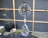 SALE, Zen, Glass Sculpture, Suncatcher, Ornament, Vintage Crystal Pendant, Hand Painted, Garden Art, Home Decor, Kanji, Window Hanging