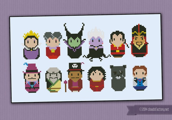 Disney Princesses Evil Villains parody - Cross stitch PDF pattern