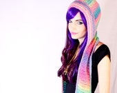 Rainbow Sherbet Prism Scoofie - Pastel Ombre Crocheted Hooded Scarf With Pockets - Super Soft Vegan Acrylic Faux Wool Yarn - Made To Order