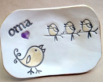 OMA Trinket  Dish 3 birdies  Mothers Day Gift