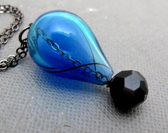 "Hot Air Balloon in Blue and Black Necklace // Blue Clear Hollow Glass Full Drop // Black Swarovski Crystal // 17"" Gunmetal Chain"