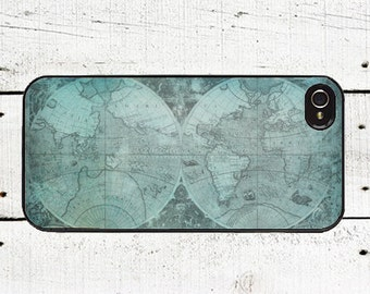 Teal World Map Phone Case World Map iphone case or iphone 5 iphone 5s iphone 5c iphone 4 iphone 4s samsung galaxy s3 s4 Father's Day