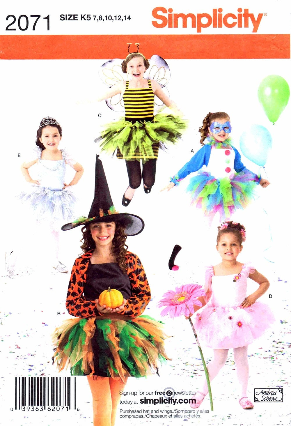 Girls Princess Ballerina Bee Clown Witch Costumes Simplicity 2071 ...