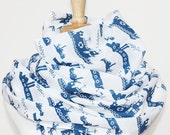 SALE Organic Cotton Voile Scarf - Blue Tugboats