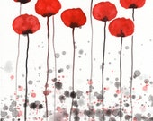 Watercolor Painting: Watercolor Flower Painting -- Art Print --  Clearly -- Red Flowers -- 8x10