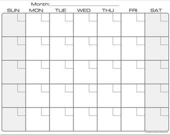Bright White Dry Erase Monthly Calendar Fridge Magnet #2864