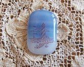 Blue and White Fused Glass Lighthouse Pendant