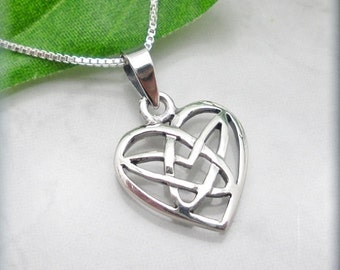 Celtic Heart Necklace Irish Jewelry Sterling Silver Pendant Knot (SN777)