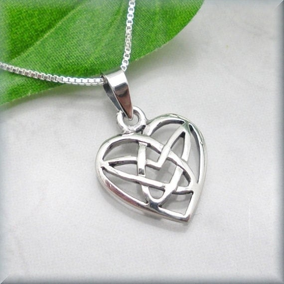 Celtic Heart Necklace Irish Jewelry Sterling Silver Pendant