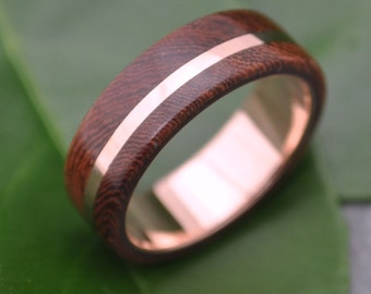 Size 6.5 READY TO SHIP Rose Gold Solsticio Oro Nacascolo Wood Ring - 14k rose gold, pink gold wood wedding band, wood ring with rose gold