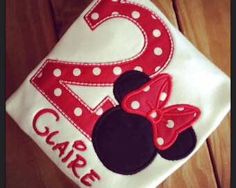 Minnie Mouse Birthday Appliqued Tee or bodysuit Your choice of number or letter