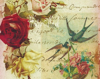 Quilt, ArtFabric Blocks,ONE 5x7*Birds carry rose basket with ribbons*Stunning*300 DPI*Roses French Script