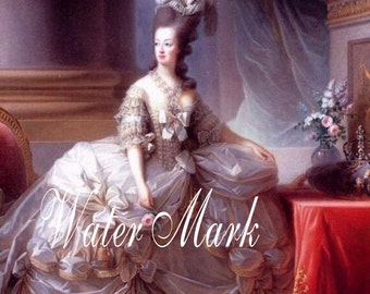 French.Marie Antoinette wears light pink skirt.  Gorgeous.Digital Download,cards, tags,postcards and more