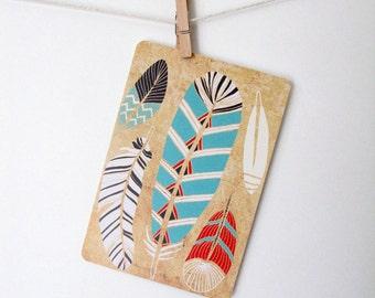Tribal Feathers Art Postcard