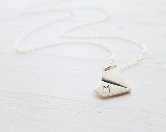 Paper Airplane Necklace - Dainty Origami Pendant Monogrammed Silver Airplane Charm Personalized Initial Necklace Air Plane Necklace