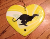 Fused Glass Dog Breed Heart - Greyhound