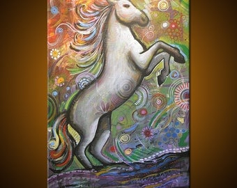 "Amy Giacomelli Painting Original Large Abstract Horse .... 24 x 36 ... ""Natural Grace"", plz c close ups"