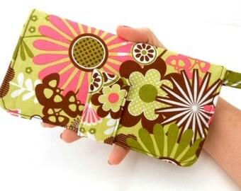 SALE Click it Wallet BiFold Women's Handmade Wallet Retro Pop Garden READY to SHIP