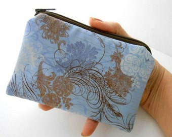 Blue Little Zipper Pouch ECO Friendly Padded Coin Purse Rare Blue Urban Couture