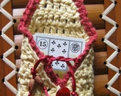 Lenormand size crochet pouch. Perfect fit. Country yellow/soft red.