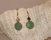 Verdigris Brass Sun Earrings