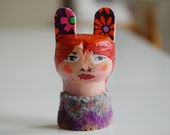 Hand-Painted Face Brooch Red-head Girl with Rabbit Ears Pin - Recycled Cork & Wool