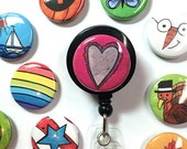 Seasonal ID badge reel with 12 interchangeable magnets, ID badge holder, lanyard for office, work, nurse, doctor, holiday gift, calendar set