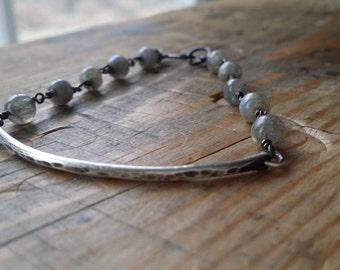 Sterling silver and labradorite bracelet