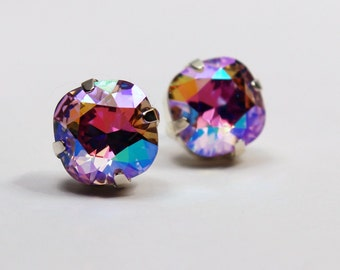 Violet Rainbow Crystal Stud Earrings Classic Sparkling AB Lilac Pink Sherbet Sky Blue Gold Solitaire Swarovski 10mm Sterling Post Copper