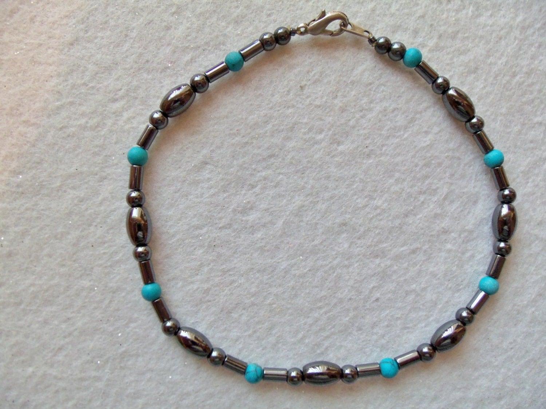 Mens Ankle Bracelet Magnetic Anklet Turquoise Beads