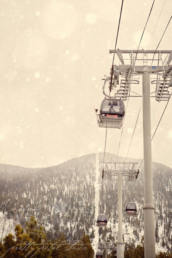 Fine Art Photo, Ski Gondola, Heavenly Lake Tahoe, Winter Print, Snow Art, Lodge, Ski Resort Photo, Mountains, Lake Tahoe Art, Vacation