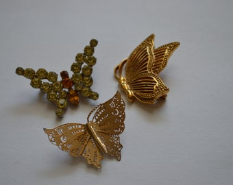 Three Vintage Butterfly Brooch Pins Gold Rhinestone