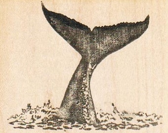 Whale Tail   rubber stamps place cards gifts  wood mounted 9519 craft supplies scrapbooking