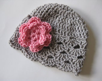 Crochet Baby Hat, Baby Girl Hat, Newborn Beanie, Baby Newborn Hat, Baby Girl Beanie, Grey Pink, Newborn Baby Hat, Crochet Hat, Newborn Prop