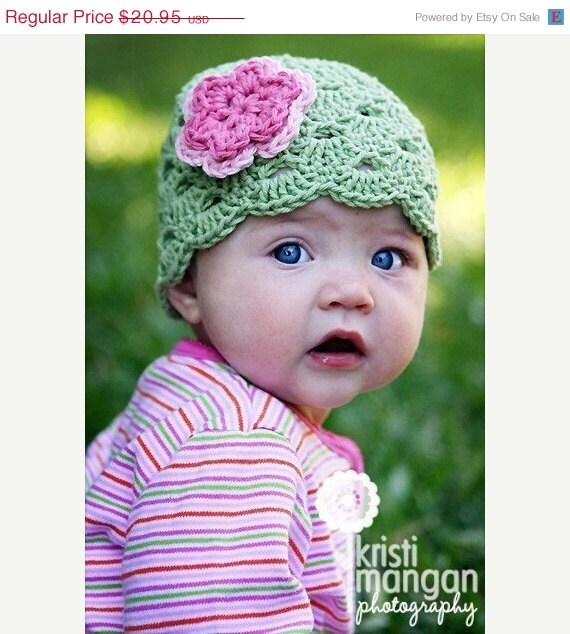Crochet Baby Hat, Baby Girl Hat, Newborn Beanie, Baby Newborn Hat, Baby Girl, Newborn Prop, Green Pink, Baby Girl Beanie, Newborn Girl Hat