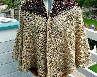 Brown  And Tan  Cape - Handmade Crochet - Winter Fall Accessory