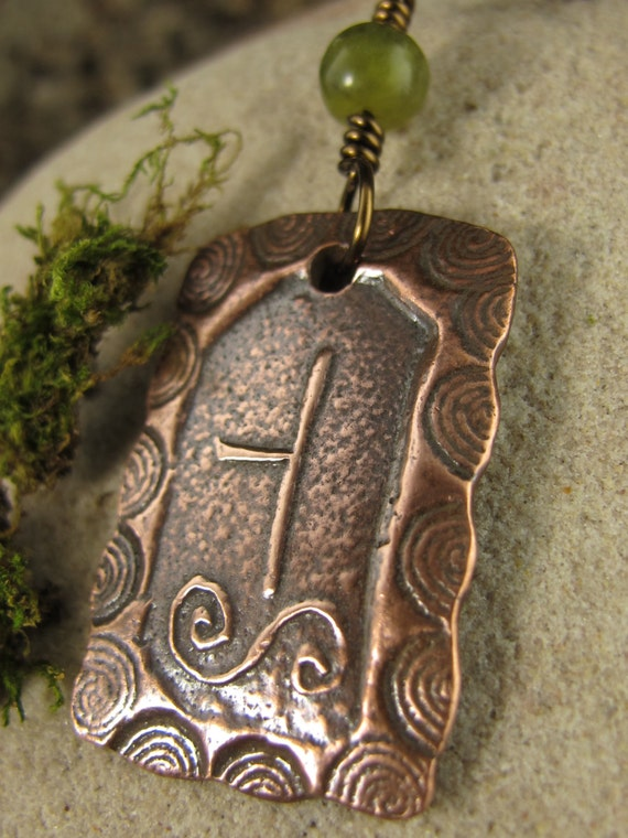 Hawthorn -Celtic Tree Astrology Ogham Copper Pendant, Spirals, Celtic Tree Oracle, Irish Celtic Jewelry, Necklace