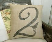 Bird Number Custom Pillow  - Burlap Feed Sack Pillow - Square Number Pillow