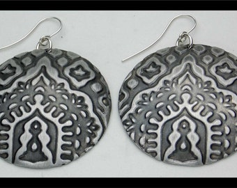ARCHES of INDIA - Handforged Antiqued Embossed Domed Exotic Statement Earrings