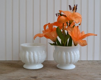 A Pair of Vintage Milk Glass Planters with Leaf Design by Randall