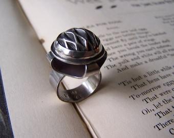 Smocked silver ring