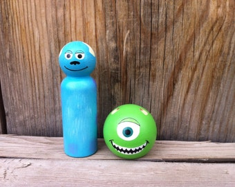 Monsters, Inc Sully and Mike -  Pegbuddies, Peg Doll, Peg People, Wood People, Birthday Cake Topper Wood Toy,