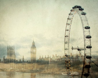 "London Skyline, London Print, Travel Poster, London Eye, Big Ben, Westminster, Double Exposure Fine Art Print ""Double Fantasy"""