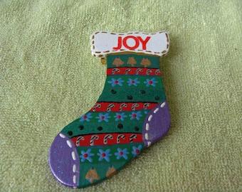 Joy Stuffed Stocking Pin --- Smile....