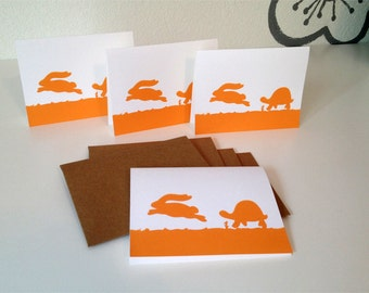 tortoise and hare - blank notecards - set of 4