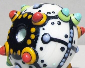 SALE--Big Single in Cream--Handmade Lampwork Glass Bead